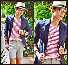 Kutik T - Ray Ban Aviator Sunglasses, Zara Plush Blazer, H&M Striped Tee, Folded&Hung Taupe Belt, Topman Tailored Shorts - Mr. Brightside