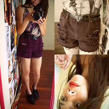 Cyress Cervantes - Forever 21 Tank Top, Thrifted, Forever 21 Cross Necklace, Forever 21 Shoes - In with the old.