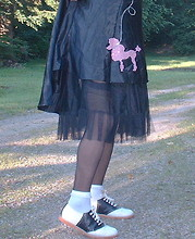 Rosario Smith - Borrowed From Friend Poddle Dress, Part Of Dress Black Crinoline, Vanity Fair Ff Black Nylon Stockings, Walmart Kids Section White Frilly Socks, Willits Black & White Saddle Shoes - Poddle Dress