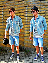 Jesper Søndergaard - Bowler Hat, Levi's® Denim Jacket, Cheap Monday Long Sleeve Tee, Han København Denim Shorts, Converse Sneakers, Ray Ban Sunglasses - Denim + Denim