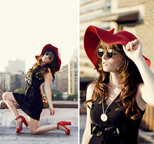 Rachel-Marie Iwanyszyn - Romwe Red Floppy Hat, Ray Ban Vintage Shades, Saks Fifth Avenue Black Vintage Dress, Red Heels, Daisy Necklace, Http://Www.Jaglever.Com - PAINT IT RED