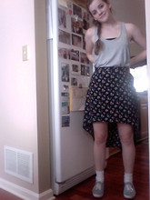 Bailey R - Gap Gray Tank Top, Tjmax Bandeau, Urban Outfitters Skirt, White Sockies, Keds Tennis Shoes - Just a trip to the Library