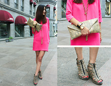 Cynthia Ding - Independent Design Clutch, Dkny Necklace, Zara Shoes, Casio Watch, Hermës Bracelet - PINK CITY