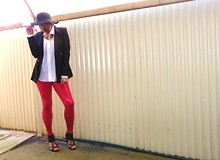 Sarah Zed - Black Milk Clothing Tomato Leggings, Urban Soul Strappy Heels, Chicabooty Blazer, Men's Shirt, Dangerfield Small Floppy Hat - Tomato Red