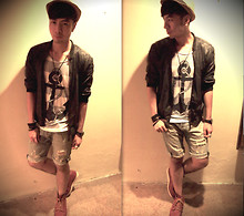 Adrian Jiun - Hugo Boss Patent Leather Jacket, Topman Printed T Shirt - Anchor Point