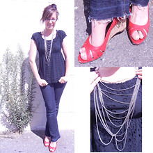 Love Token US - Love Empire Eyelet Top, Merona Red Wedges, Target Dangley Necklace - Put on your red shoes and dance to the blues
