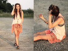 Bethany Olson - Free People Flowy Long Tank, Free People Floral Cropped Knit Bralette - Free Summer