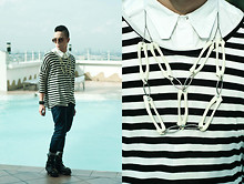 Paul Jatayna - Oxygen Buttondown Shirt, Oxygen Striped Shirt, Topman Drop Crotch Pants, Topman Striped Socks, F&H Boots, Os Wings Necklace - Wings.