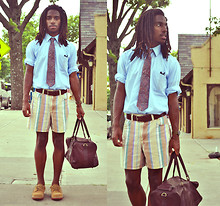 Zachary Gray - Thrift Store Pinpoint Oxford, Thrift Store Shorts, G.H. Bass Bucks, Thrift Store Leather Duffle, Christian Dior Paisley Tie - Why Even Try?