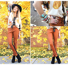 Valentina Rios - Forever 21 Cross Ring, Versace Blouse, Ay Not Dead Leather Pants, Suede Boots, Vintage Antique Bracelets - Versace Fall