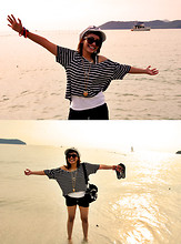 Jijie J - Cotton On Stripped Croptop, Black Shorts, Sailor Skull Hat - Island in the sun