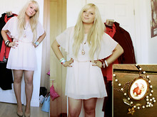 Em Ken - Topshop Bunny Pendant, New Look Dress, River Island Bands, New Look Wedges - Summer Lovin'