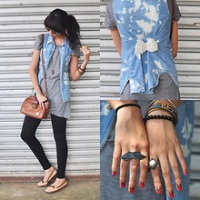 Sophie Quiray - Guess? Denim Vest, Thrift Store Bag, Forleria Loafer Shoes, Vanilla Zoo Mustache Ring, Grandma's Vintage Bangles - Teenage Crime