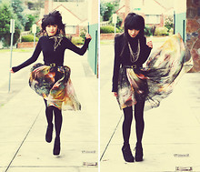 Connie Cao - Miss Shop Skivvy, Romwe Galaxy Space Skirt, Asos Wedges, Vintage Belt - FLYING THROUGH SPACE