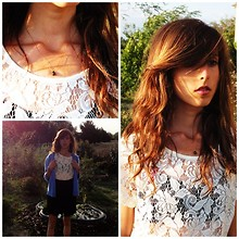 Clara Richet - Zara Lace Up Tee, American Apparel Black Skirt, Hand Made Necklace - No joy without annoy..