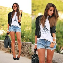 Alexandra Per - Iwearsin Jacket, Zara Shorts, H&M Bag, Brashy Couture T Shirt, Stradivarius Pumps - Oui oui Paris