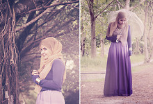 Aishah Amin. - Ombre Skirt, Primark Indigo Top, Chamelon Necklace, Diva Bangle - Ombre Tones