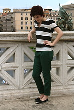 Cassie O'Neal - Zara Striped T, Zara High Rise Pants, K Mart Lucky Find - When in Rome...