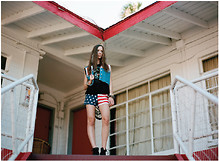Supadupa Vintage - Supadupa Vintage American Flag Shorts, Supadupa Vintage Shredded Rock Band Tee, Seychelles Black Boots - RED WHITE AND BLUE