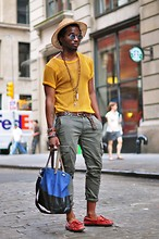 Kadeem Johnson - Vintage Straw Hat, Thrifted Mesh Shirt, Uniqlo Pants, Vintage Shoes, Jack Spade Bag - Mesh and Straw