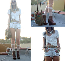 BRIT N. - Diy Vintage Cut Off Shorts, American Apparel Socks, Steve Madden Boots, Recycled Rice Bag Purse, Vintage Necklaces, Vintage Belt, Anthropologie Shirt - WHITE LIGHT / disarming darling