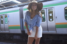 Chanyn Cheree - H&M Floppy Sun Hat, Loveless Japan Denim Button Up, H&M Simple White Dress - Jet Train Tranquility