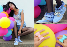 Raphaelle Angela Fernandez - Forever 21 Denim Top, Keds Denim Sneaker Boots, Greenhills Ribbon Rings - Denim and Ribbon
