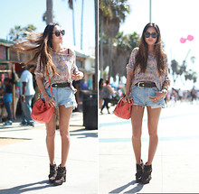 Aimee Song - Anarchy Street Rainbow Knit, Levi's® Denim Shorts, Opening Ceremony Ankle Boots - Venice Beach, California