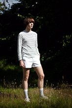 Jack Spicer Adams - Gap Striped Shirt, Fred Perry Tiny Shorts, H&M Striped Socks - Tennis