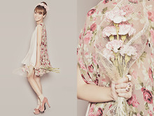Tricia Gosingtian - Floral Cape, Suede Heels, Diva Necklace Turned Hair Accessory, Korea Ribbon Ring, Forever 21 Ring - 072611