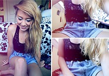 Rachel L. - Buffalo Exchange Lace Tank, Urban Outfitters High Waisted Levis, Cherish Black Bandeau - A Sunday Smile