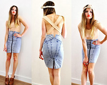 Elle * - Mango Body Stocking, Thrift Store Bleached Denim Skirt, Invito Leather Clogs - In the mood for sunshine!