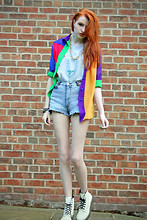 Olivia Emily - Colour Block Shirt, Retro Rehab Chain, Cow Beverly Hills Shirt, Cow Stonewash Shorts, Tk Maxx White Docs - In West Philadelphia, born and raised