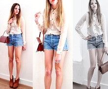 Elle * - Warehouse Sheer Blouse, Levi's® Vintage Denim Shorts, Bought In Indonesia Croq Leather Purse - When love takes over....