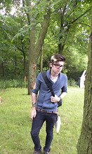 Johnny Cook dooley - H&M Blue Cardigan, American Eagle Native Pattern Belt, Drop Dead Jeans, Aldo Brown Leather High Tops, Over Shoulder Back Pack, Custom White Fox Tail - My first day