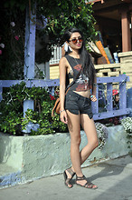 Kristine Lo - Aimee Nicolas Feather Ear Cuff, Vintage Harley Davidson Tank, Cut Off Black Denim Shorts - Rebel Yell.