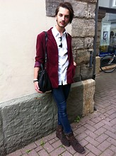 Dustin H. - H&M Shirt, Vintage Blazer, Alexander Wang Bag, Cheap Monday Jeans, Hudson Shoes, Ray Ban Sunglasses - Overpowered
