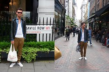 Fabrizio Rojas - Selfmade Anchor Necklace, Zara White Tank Top, H&M Brown Pants, Marc By Jacobs Bag, Marc By Jacobs Sunglasses, H&M Black Leather Jacket, Zara Blue Jeans Shirt, Converse White Chucks - Savile Row vs. Carnaby Street
