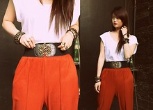 Bea Sy - Forever 21 Garterized Belt, Singapore Black And Gold Studded Bracelets, Topshop Loose White Top - Never mind, I'll find someone like you.