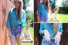 Rachel L. - Urban Outfitters Turquoise Button Down, Urban Outfitters Renewal Levis, Loft Coral Ring, Turquoise And Coral Silver Antique Ring, Turquoise Silver Antique Ring - A.N.I.M.A.L.S
