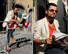 Salvatore Romano - Marc By Jacobs Glasses, Zara T Shirt, Hotel Blazer, Zara Chino Pants - We'll Never Know