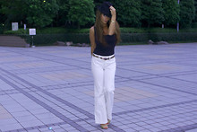 Chanyn Cheree - Zara Tank, Banana Republic Trousers, Elle Tahari Stilletos, Uniqlo Fedora - Channeling my inner Charlie Chaplin