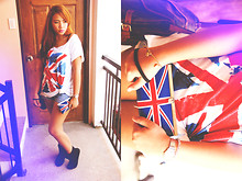 Ish Manuelle - Bff's Gift Union Jack Clutch, Genevieve Gozum Over Sized Union Jack Shirt - Lazy Jacko.