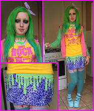 Jasmine J Green - 6%Dokidoki Polkadot, Etsy Blood Drip Choker, Lover's Rock T Shirt   Modded, My Facial Expressions Handmade Skirt, Minky Shop Uncomfortable Shoes - MCM Manchester BOOP BOOP BOOP