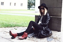 Josephine M. - Wang Glasses, Vintage Leather Jacket, Zara Blouse, Vintage Hat, Zara Jeans, Sancho Boots, Alexander Wang Bag - Oh red wine