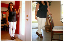 Elizabeth Hernandez - Banana Republic Navy Top, Candies Brown Wedges, Jcpenney White Skinny Jeans, Jcpenney Parrot Necklace - Bird of Paradise