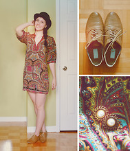 Noémie B. - Paisley Dress, Oxford Shoes, Earrings, Costume Store Black Bowler Hat - Are you going to Scarborough Fair?