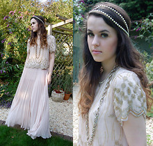 Arabella G - Pearl Headdress, Vintage Long Gold Chain, Topshop Embellished Scallop Edged Top, Asos Pleated Maxi Skirt, Granny's String Of Pearls - Pleats & Pearls