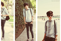 Dallas Harder - Zara Button Down, H&M Black W/ Brown Trimmed Backpack, Lavsh Studded Bowtie, Toms Grey Canvas, Ray Ban Black Sunglasses - California Weather
