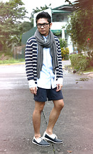 Miko Carreon - Topman Eyeglasses, Cotton On Scarf, Forever 21 Sailor Cardigan, Penshoppe Denim Polo, Sm Department Store Diy Tailored Shorts, Wade Boat Shoes - Once in a gloomy day